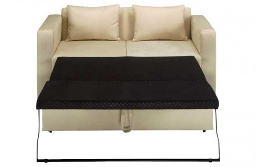 A leather metal-action sofa bed.