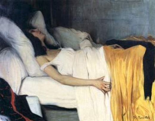 A painting entitled The Morphine by S. Rusiñol dated back to 1894 to portray a victim of addiction.