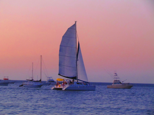 Sunset catamaran.