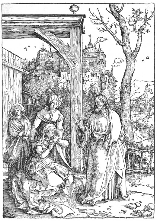 "Albrecht Durer's woodcut, ""Christ Taking Leave of his Mother"""