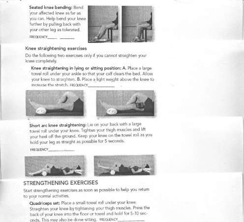 Knee replacement surgery; post-operative range-of-motion exercises.