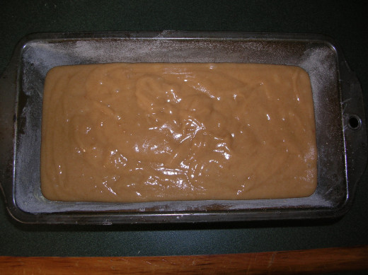 Ginger loaf mixture in baking pan.