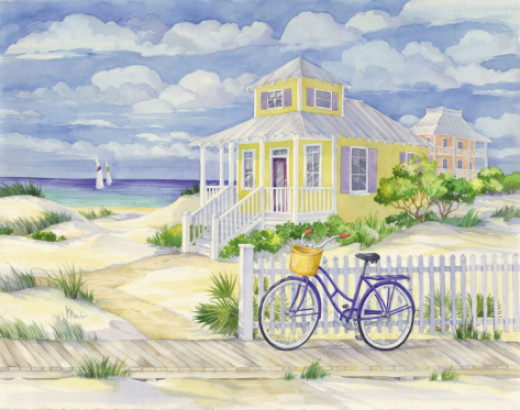 Beach Cruiser Cottage ll Print   by Paul Brent