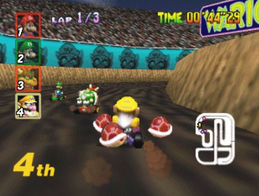 Wario with 3 Red Shells