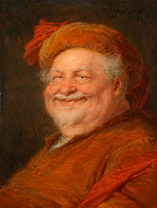 Smiling can imply a sense of humour and a state of amusement, as in this painting of Falstaff by Eduard von Grützner.