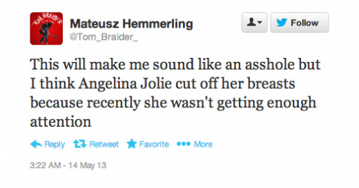 A Twitter user expresses his opinion as to why Angelina underwent the surgery.