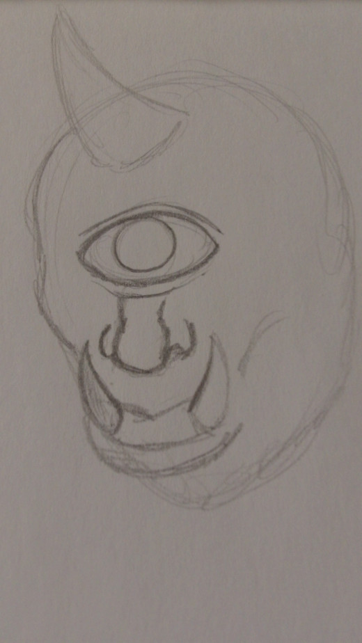 Define the eye and nose with a darker pencil line