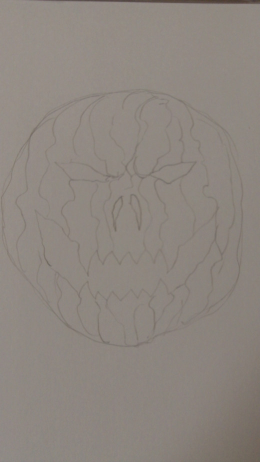 Draw in lots of random uneven vertical lines on the Pumpkin and add frown lines near the eyes