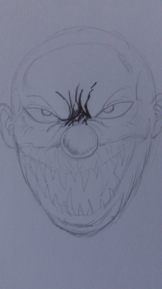 start inking the evil clown drawing anywhere you like