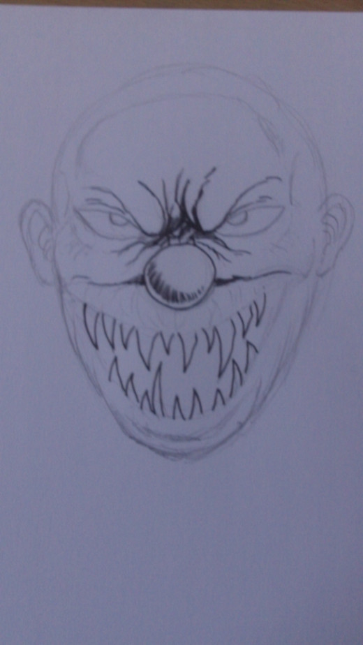 how to draw a evil clown face step by step