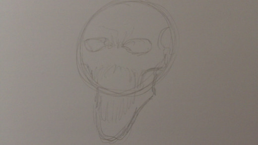 Loosely sketch in the bottom jaw and very drafted out teeth
