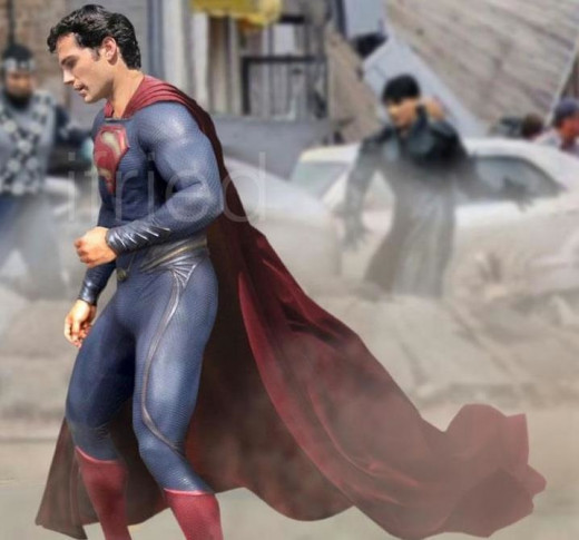 Henry Cavill as Superman on the set of Man of Steel.