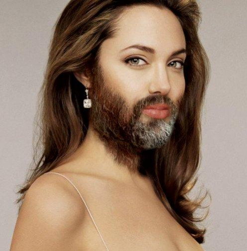 Angelina and her luxurious facial locks