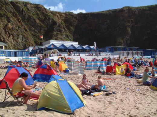 Beachside Restaurants in Newquay, Cornwall: Kitchen Bar, Lusty Glaze Beach.