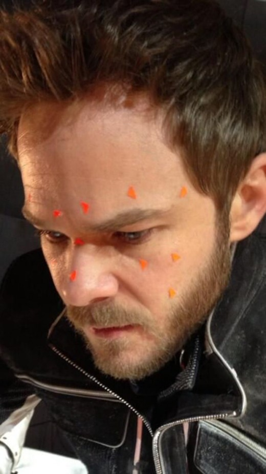 Set photo of Shawn Ashmore as Iceman. The motion capture tags on his face could mean that we'll get full iceform Iceman again.
