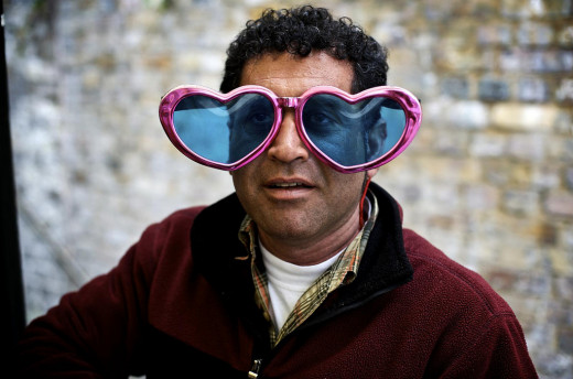 A true romantic, this man sees the world through heart-shaped glasses.