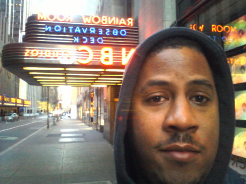"Me, outside NBC Studios, New York where shows like ""30 Rock"" are made."