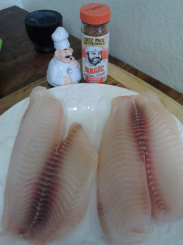 Fresh Tilapia Fillets before Seafood Magic Seasonings.