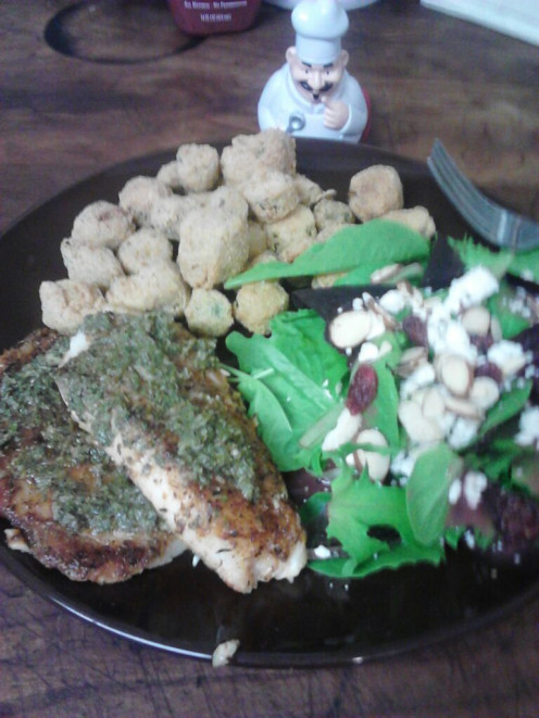 Serve Tilapia Fillets with a green cranberry-almond salad and a side of Southern Fried Okra.