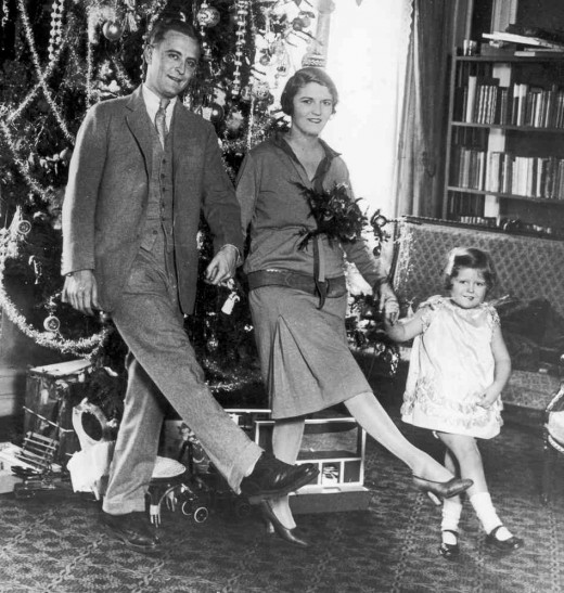 "Fitzgerald, Zelda and their daughter ""Scottie"" in happier days."