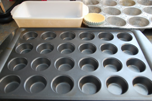 you can use a bread pan, regular muffin pan or a mini-muffin pan to make this recipe