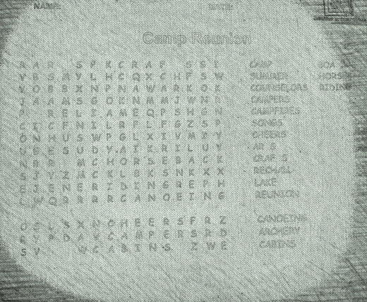 The finished Word Search!