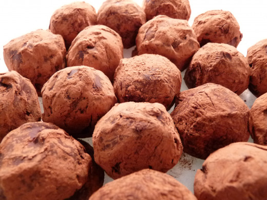 Arrange truffles on a plate or your favorite serving tray.