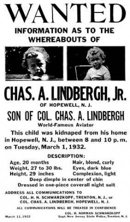 poster for kidnapped Lindberg baby