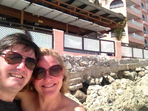 My new bride and I on the beach in front of the hotel