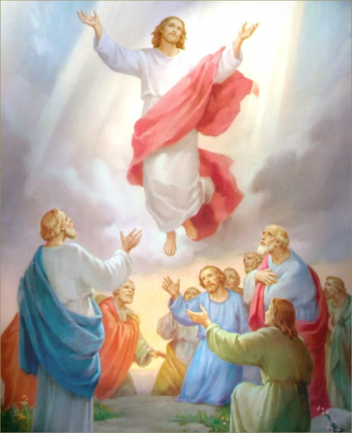 Jesus Ascended into Heaven on a cloud of light to take His Place at the Right Hand of the Father.