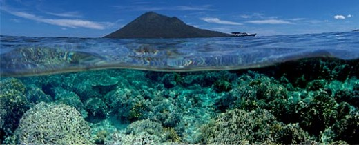 view of Bunaken Island from sea surface
