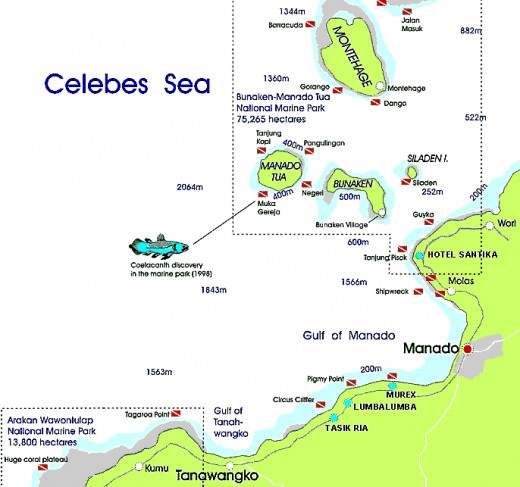 Map to reach Bunaken Island