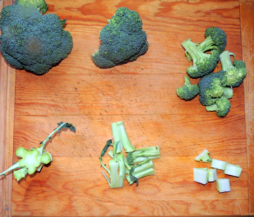 left to right, top to bottom broccoli prep