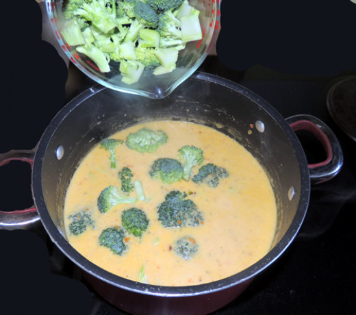 add raw broccoli & cook to desired doneness