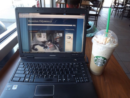 My Favorite Writing Tools--Laptop and Venti Caramel Frappucino
