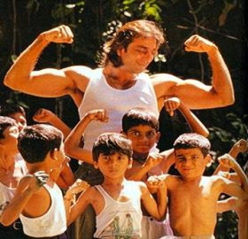 Sanjay Dutt plays with children    from the Akanksha Foundation and helps them educated and self-reliant