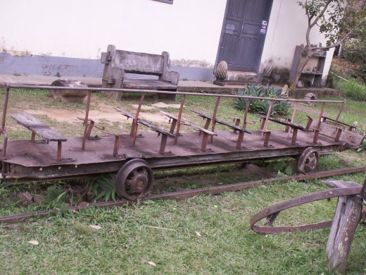 A mine car no longer in use, it is now on display at the gold mine in Ouro Preto, Brasil