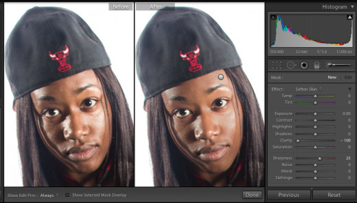 Before and after shot. Used the Adjustment Brush to soften the model's skin.