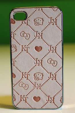 Hello Kitty deluxe chrome plastic and leather case for iPhone