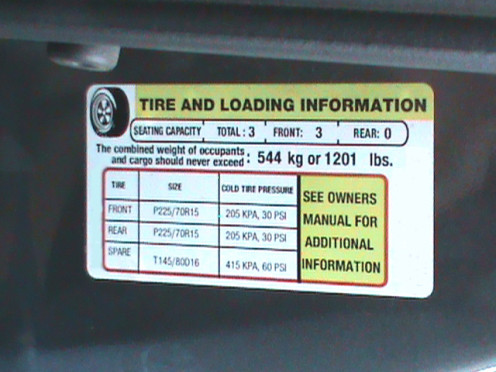 Tire information placard