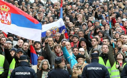 People right of declaring of being unsatisfied. Protests against Brussels Agreement.