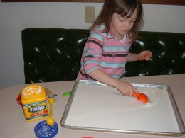 My grand daughter loves playing with Glurch (Cornstarch and water)