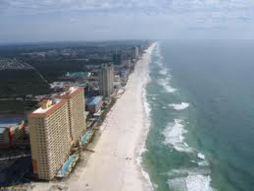 Panama City Beach has many hotels and restaurants up and down the beach front.
