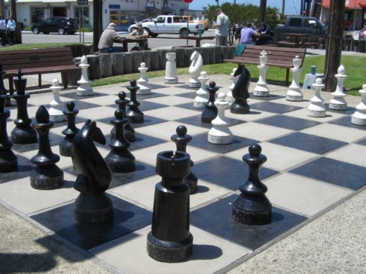 A chessboard with almost life-size pieces to play with, found on the embarcadero.