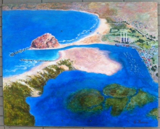 An artist representation of Morro Bay.