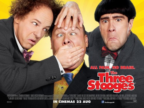 The Three Stooges in 2012 featuring Sean Hayes (Larry),  Will Saso (Curly) and Chris Diamantopoulos (Moe).