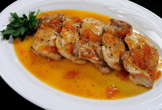 Chicken breast with apricot sauce