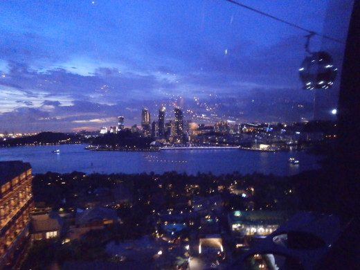 Sentosa Cable car ride after dark