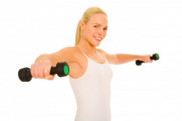 Blonde Girl Lifting Weights by Ambro