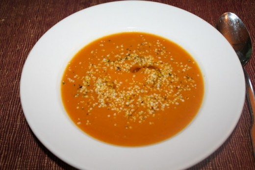 Shelled hemp seeds can be sprinkled on any soup.